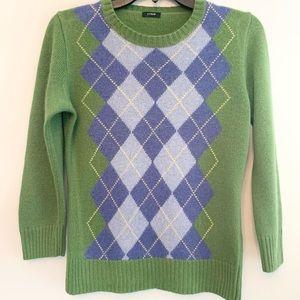 J Crew Argyle Green Blue Sweater XS (2)
